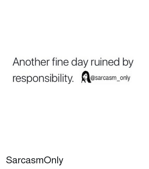 Funny, Memes, and Responsibility: Another fine day ruined by  responsibility. esarcasm, only SarcasmOnly