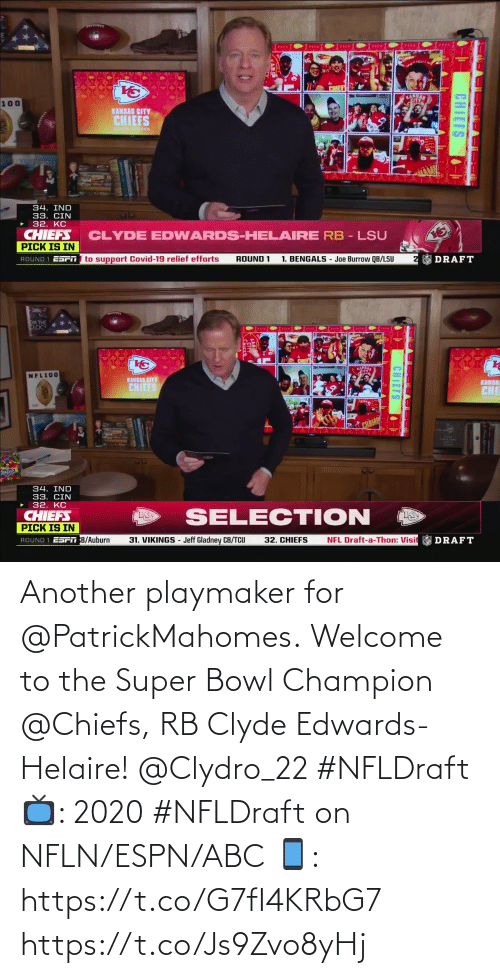 Super Bowl: Another playmaker for @PatrickMahomes.  Welcome to the Super Bowl Champion @Chiefs, RB Clyde Edwards-Helaire! @Clydro_22 #NFLDraft  📺: 2020 #NFLDraft on NFLN/ESPN/ABC 📱: https://t.co/G7fI4KRbG7 https://t.co/Js9Zvo8yHj
