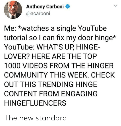 Community, Videos, and youtube.com: Anthony Carboni  @acarboni  Me: *watches a single YouTube  tutorial so I can fix my door hinge*  YouTube: WHAT'S UP HINGE-  LOVER? HERE ARE THE TOP  1000 VIDEOS FROM THE HINGER  COMMUNITY THIS WEEK. CHECK  OUT THIS TRENDING HINGE  CONTENT FROM ENGAGING  HINGEFLUENCERS The new standard
