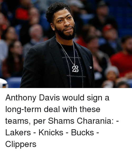 New York Knicks, Los Angeles Lakers, and Anthony Davis: Anthony Davis would sign a long-term deal with these teams, per Shams Charania:  - Lakers - Knicks - Bucks - Clippers