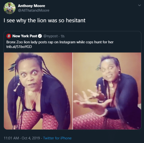 zoo: Anthony Moore  @AlThatandMoore  I see why  the lion was so hesitant  @nypost. 1h  New York Post  Bronx Zoo lion lady posts rap on Instagram while cops hunt for her  trib.al/S1boYGD  11:01 AM Oct 4, 2019 Twitter for iPhone