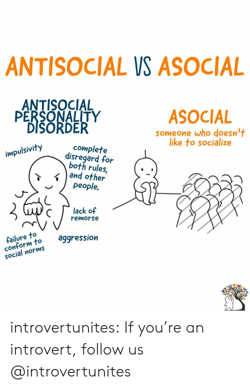 Introvert, Target, and Tumblr: ANTISOCIAL VS ASOCIAL  ANTISOCIAL  PERSONALITY  DISORDER  ASOCIAL  someone who doesn't  like to socialize  complete  disregard for  both rules,  and other  people.  impulsivity  lack of  remorse  failure to  conform to  SOcial norms  aggression introvertunites:  If you're an introvert, follow us @introvertunites​