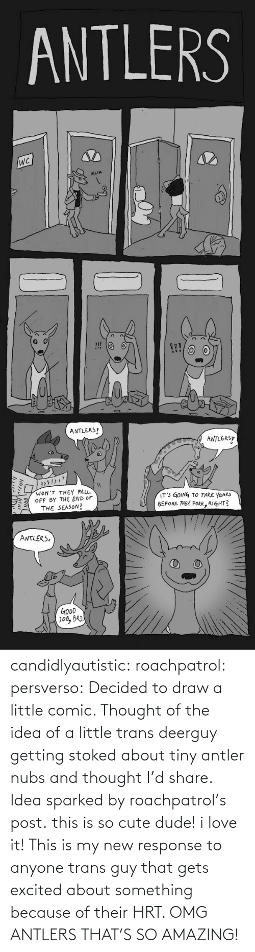 How Many: ANTLERS  KLIK  ANTLERS  ANTLERSP  WON'T THEY FALL  OFF BY THE END OF  THE SEASON?  IT' GOING TO TAKE YEARS  BEFORE THEY FoRK, RIGHT?  ミ  ANTLERS  GOoD candidlyautistic: roachpatrol:  persverso:  Decided to draw a little comic. Thought of the idea of a little trans deerguy getting stoked about tiny antler nubs and thought I'd share. Idea sparked by roachpatrol's post.  this is so cute dude! i love it!  This is my new response to anyone trans guy that gets excited about something because of their HRT. OMG ANTLERS THAT'S SO AMAZING!