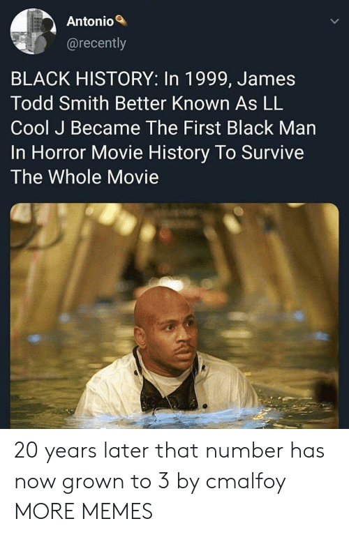 Dank, Memes, and Target: Antonio  @recently  BLACK HISTORY: In 1999, James  Todd Smith Better Known As LL  Cool J Became The First Black Man  In Horror Movie History To Survive  The Whole Movie 20 years later that number has now grown to 3 by cmalfoy MORE MEMES