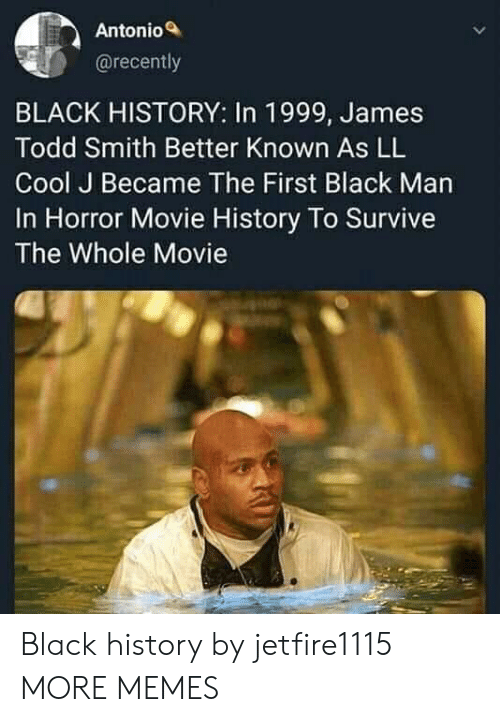 horror movie: Antonio  @recently  BLACK HISTORY: In 1999, James  Todd Smith Better Known As LL  Cool J Became The First Black Man  In Horror Movie History To Survive  The Whole Movie Black history by jetfire1115 MORE MEMES