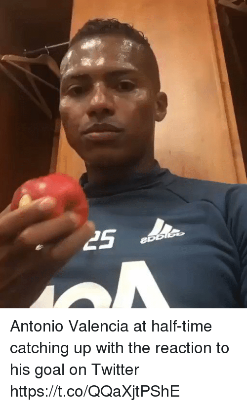 Soccer, Twitter, and Goal: Antonio Valencia at half-time catching up with the reaction to his goal on Twitter https://t.co/QQaXjtPShE