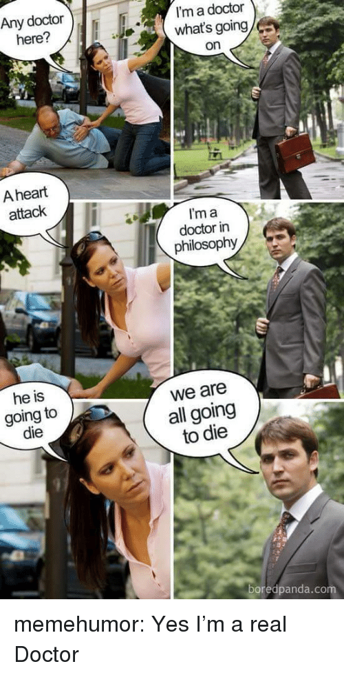 Doctor, Tumblr, and Blog: Any doctor  here?  I'm a doctor  what's going  on  A heart  attack  I'm a  doctor in  philosophy  he is  going to  die  we are  all going  to die  97  boredpanda.co memehumor:  Yes I'm a real Doctor