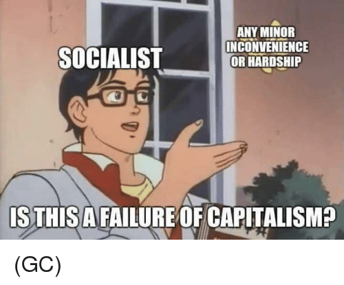 Memes, Capitalism, and Inconvenience: ANY MINOR  INCONVENIENCE  OR HARDSHIP  SOCIALIST  is  ISTHISA FAILURE OF CAPITALISM? (GC)