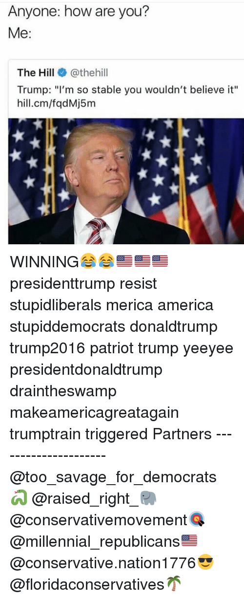"America, Memes, and Savage: Anyone: how are you?  Me:  The Hill@thehill  Trump: ""I'm so stable you wouldn't believe it""  hill.cm/fqdMj5m WINNING😂😂🇺🇸🇺🇸🇺🇸 presidenttrump resist stupidliberals merica america stupiddemocrats donaldtrump trump2016 patriot trump yeeyee presidentdonaldtrump draintheswamp makeamericagreatagain trumptrain triggered Partners --------------------- @too_savage_for_democrats🐍 @raised_right_🐘 @conservativemovement🎯 @millennial_republicans🇺🇸 @conservative.nation1776😎 @floridaconservatives🌴"