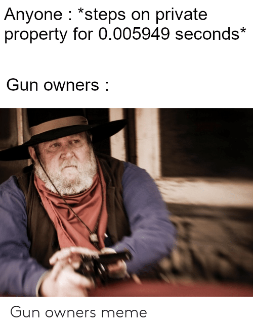 Meme, Gun, and Private: Anyone *steps on private  property for 0.005949 seconds*  Gun owners: Gun owners meme