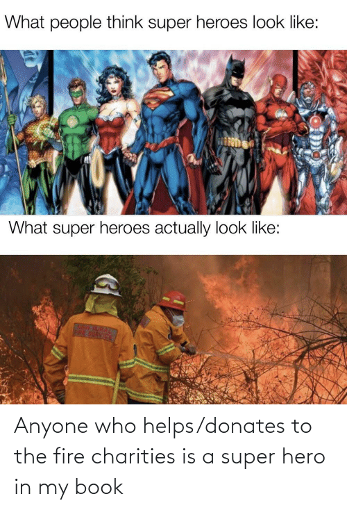 Book: Anyone who helps/donates to the fire charities is a super hero in my book