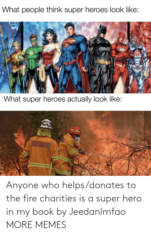 Book: Anyone who helps/donates to the fire charities is a super hero in my book by Jeedanlmfao MORE MEMES