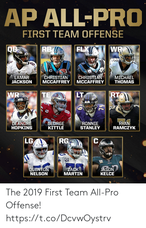 Martin: AP ALL-PRO  FIRST TEAM OFFENSE  FLX  RB  QB  WR  CHRISTIAN  MCCAFFREY  CHRISTIAN  MCCAFFREY  LAMAR  JACKSON  MICHAEL  THOMAS  RT  TE  WR  LT  79  4.91EBE  TEXANS  GEORGE  KITTLE  RYAN  RAMCZYK  DEANDRE  HOPKINS  RONNIE  STANLEY  LG  RG  QUENTON  NELSON  ŻACK  MARTIN  JASON  KELCE  6L The 2019 First Team All-Pro Offense! https://t.co/DcvwOystrv