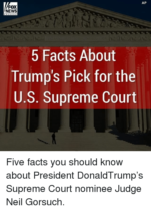 Neil Gorsuch: AP  FOX  NEWS  5 Facts About  Trump's Pick for the  U.S. Supreme Court Five facts you should know about President DonaldTrump's Supreme Court nominee Judge Neil Gorsuch.