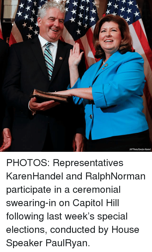 Memes, House, and 🤖: (AP Photo/Carolyn Kaster) PHOTOS: Representatives KarenHandel and RalphNorman participate in a ceremonial swearing-in on Capitol Hill following last week's special elections, conducted by House Speaker PaulRyan.