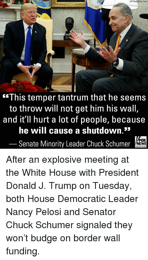 democratic: AP Photo/Evan Vucci  This temper tantrum that he seems  to throw will not get him his wall  and it'll hurt a lot of people, because  he will cause a shutdown.*  Senate Minority Leader Chuck Schumer  FOX  NEWS  chan neI After an explosive meeting at the White House with President Donald J. Trump on Tuesday, both House Democratic Leader Nancy Pelosi and Senator Chuck Schumer signaled they won't budge on border wall funding.