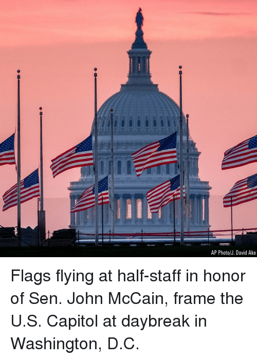 Memes, John McCain, and 🤖: AP Photo/J. David Ake Flags flying at half-staff in honor of Sen. John McCain, frame the U.S. Capitol at daybreak in Washington, D.C.