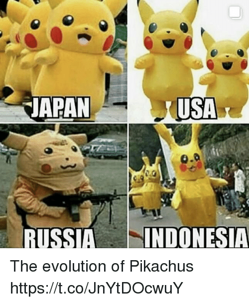 Evolution, Usa, and The: APAN  USA  RUSSIAINDONESIA The evolution of Pikachus https://t.co/JnYtDOcwuY