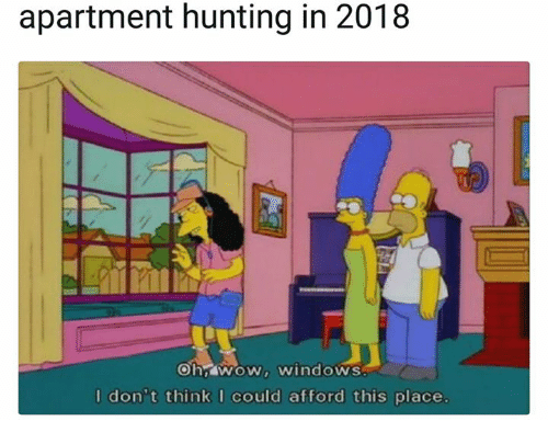 Windows, Hunting, and Think: apartment hunting in 2018  hswNOW, windoWS  I don't think I could afford this place