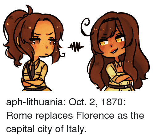 Lithuania: aph-lithuania:  Oct. 2, 1870: Rome replaces Florence as the capital city of Italy.