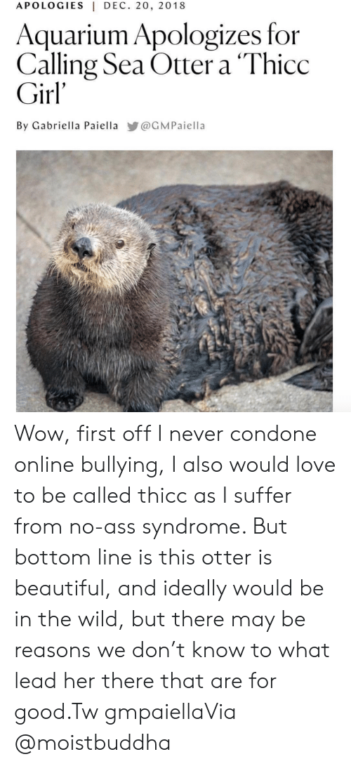 Condone: APOLOGIES|DEC. 20, 2018  Aquarium Apologizes for  Calling Sea Otter a 'Thicc  Girl'  By Gabriella Paiella @GMPaiella Wow, first off I never condone online bullying, I also would love to be called thicc as I suffer from no-ass syndrome. But bottom line is this otter is beautiful, and ideally would be in the wild, but there may be reasons we don't know to what lead her there that are for good.Tw gmpaiellaVia @moistbuddha