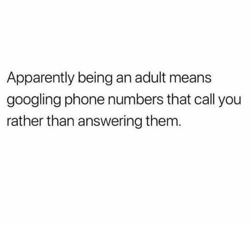 Apparently, Being an Adult, and Memes: Apparently being an adult means  googling phone numbers that call you  rather than answering them