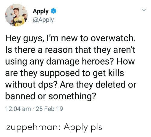 dps: Apply  @Apply  Hey guys, I'm new to overwatch  Is there a reason that they aren't  using any damage heroes? How  are they supposed to get kills  without dps? Are they deleted or  banned or something?  12:04 am 25 Feb 19 zuppehman:  Apply pls