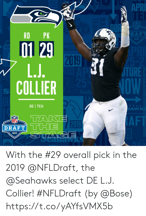 Af, Memes, and Nfl: APRI  QUR  NFL  RD PK  RAFT  2019  01 29  2019  TURE  NOW  COLLIER  DE TCU  TTLE  AW  TAKE  DRAFT THE T2019  NFL  AF  2019  1a  DRAFT With the #29 overall pick in the 2019 @NFLDraft, the @Seahawks select DE L.J. Collier! #NFLDraft (by @Bose) https://t.co/yAYfsVMX5b