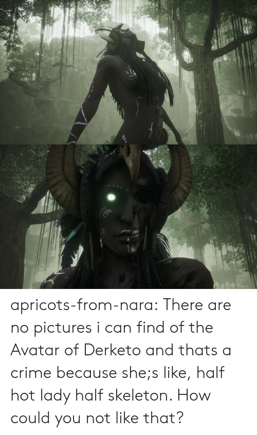 Crime, Tumblr, and Avatar: apricots-from-nara:  There are no pictures i can find of the Avatar of Derketo and thats a crime because she;s like, half hot lady half skeleton. How could you not like that?