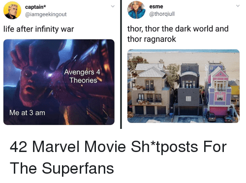 Life, Avengers, and Infinity: aptain*  @iamgeekingout  esme  @thorqiull  thor, thor the dark world and  thor ragnarok  life after infinity war  Avengérs 4  Theories  Me at 3 am 42 Marvel Movie Sh*tposts For The Superfans