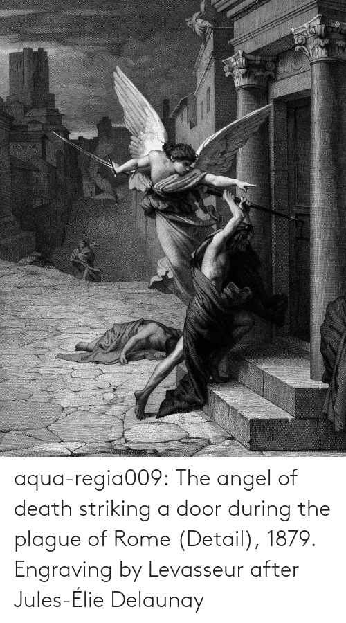 Death: aqua-regia009:   The angel of death striking a door during the plague of Rome   (Detail), 1879.  Engraving by Levasseur after  Jules-Élie Delaunay