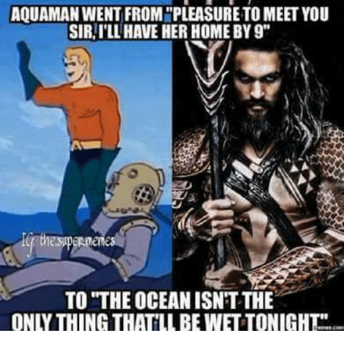 "Memes, Home, and Ocean: AQUAMAN WENT FROMNPLEASURETO MEET YOU  SIR, ILL HAVE HER HOME BY9""  TO THE OCEAN ISNTTHE  ON THING THATLLBEWETTONIGHT"