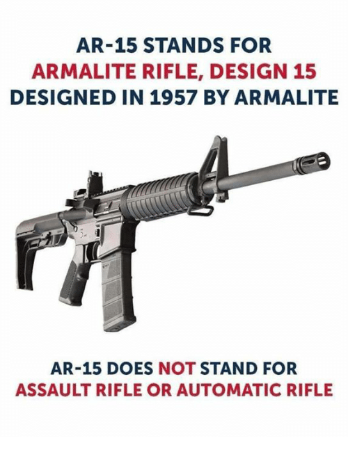 Memes, Design, and Ar 15: AR-15 STANDS FOR  ARMALITE RIFLE, DESIGN 15  DESIGNED IN 1957 BY ARMALITE  AR-15 DOES NOT STAND FOR  ASSAULT RIFLE OR AUTOMATIC RIFLE