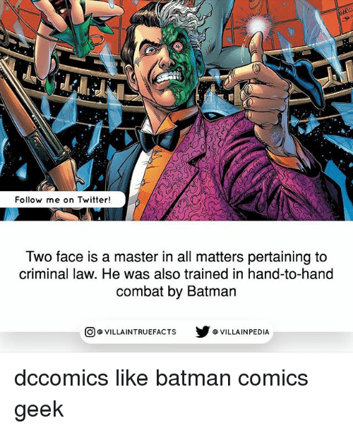 Batman, Memes, and Twitter: AR  Follow me on Twitter!  Two face is a master in all matters pertaining to  criminal law. He was also trained in hand-to-hand  combat by Batman  回@VILLA IN TRUEFACTS  步@VILLA IN PEDI dccomics like batman comics geek