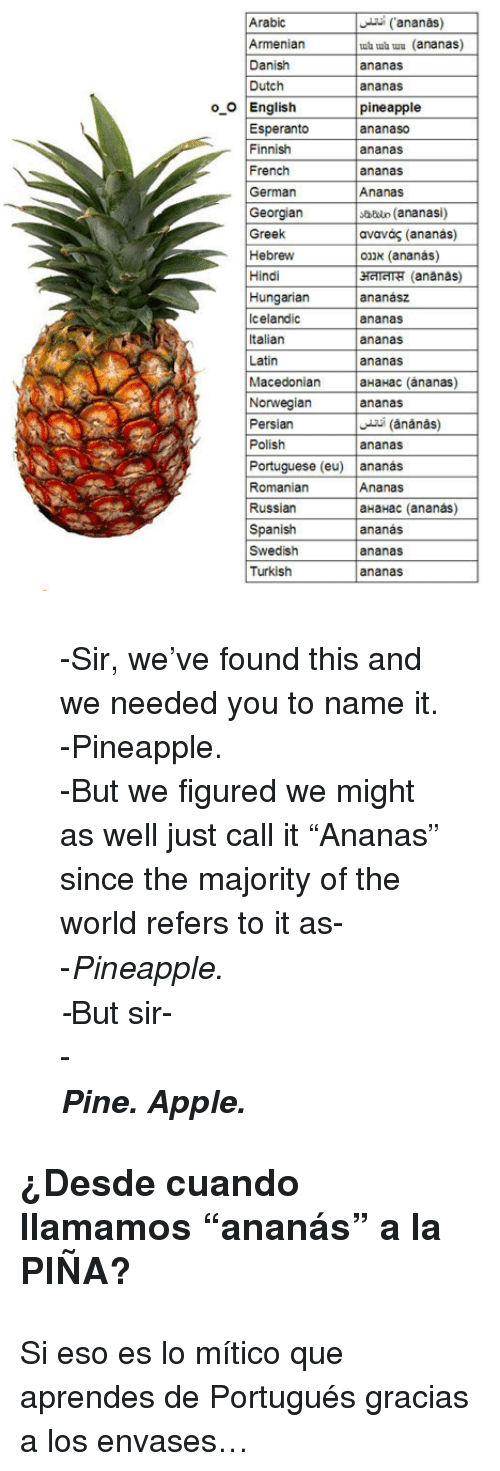 "Apple, Spanish, and Pineapple: Arabic  Armeniar  Danish  Dutch  ananas)  ub ub uu (ananas)  ananas  ananas  pineapple  ananaso  ananas  ananas  oO English  Esperanto  Finnish  French  German  Georgian  Greek  Hebrew  Hindi  Hungarian  Icelandic  Italian  Latin  sbdun (ananasi)  ανανάς (ananás)  אננס (ananás)  затт"" (ananas)  ananász  ananas  ananas  ananas  Macedonian aHaHac (ánanas)  Norwegianananas  Persian  Polish  ananas  Portuguese (eu) ananas  Romaniarn  Russian  Spanish  Swedish  Turkish  Ananas  aHaHac (ananas)  ananás  ananas  ananas <blockquote> <p>-Sir, we've found this and we needed you to name it.</p> <p>-Pineapple.</p> <p>-But we figured we might as well just call it ""Ananas"" since the majority of the world refers to it as-</p> <p>-<em>Pineapple.</em></p> <p><em>-</em>But sir-</p> <div>-</div> <div><strong><em>Pine. Apple.</em></strong></div> </blockquote> <h3>¿Desde cuando llamamos ""ananás"" a la PIÑA? </h3> <p>Si eso es lo mítico que aprendes de Portugués gracias a los envases…</p>"
