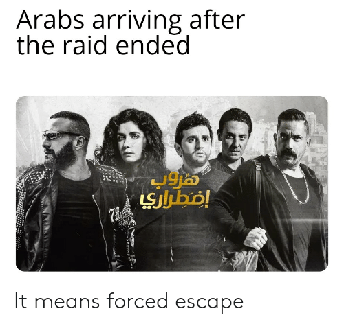 Reddit, Raid, and The Raid: Arabs arriving after  the raid ended  LSJbo! It means forced escape