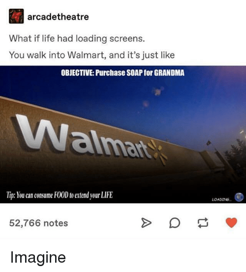 objective: arcadetheatre  What if life had loading screens.  You walk into Walmart, and it's just like  OBJECTIVE: Purchase SOAP for GRANDMA  aima  Tip: You can consume FOOD to extend your LIFE  LOADING  52,766 notes Imagine