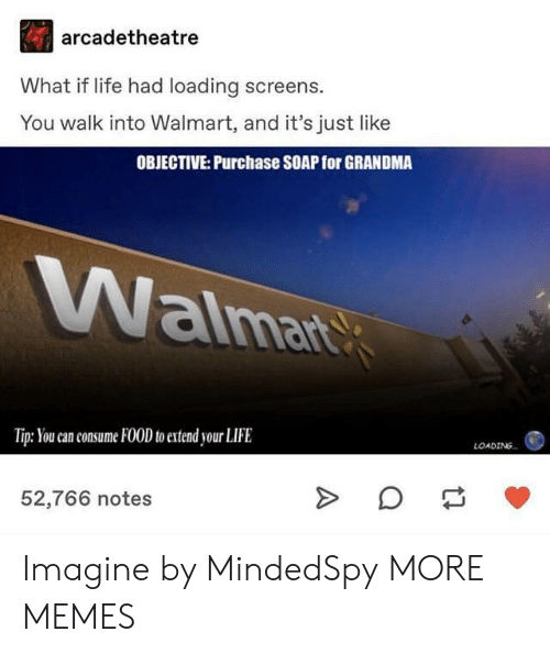 objective: arcadetheatre  What if life had loading screens.  You walk into Walmart, and it's just like  OBJECTIVE: Purchase SOAP for GRANDMA  aima  Tip: You can consume FOOD to extend your LIFE  LOADING  52,766 notes Imagine by MindedSpy MORE MEMES