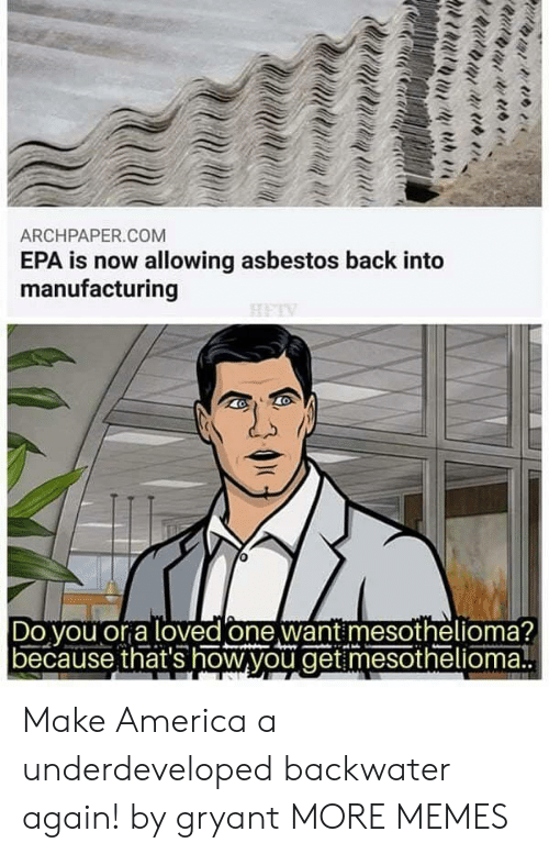 epa: ARCHPAPER.COM  EPA is now allowing asbestos back into  manufacturing  Do vou or a loved one want mesothelioma?  because that's how,you get mesothelioma! Make America a underdeveloped backwater again! by gryant MORE MEMES
