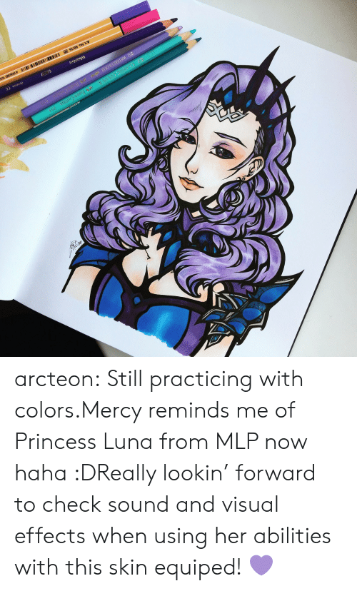Tumblr, Blog, and Princess: arcteon:  Still practicing with colors.Mercy reminds me of   Princess Luna from MLP now haha :DReally lookin' forward to check sound and visual effects when using her abilities with this skin equiped!💜