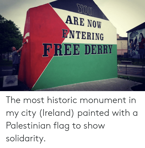 Free, Ireland, and City: ARE NOW  ENTERING  FREE DERRY The most historic monument in my city (Ireland) painted with a Palestinian flag to show solidarity.