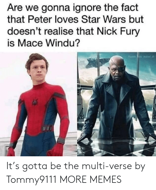 Dank, Mace Windu, and Memes: Are we gonna ignore the fact  that Peter loves Star Wars but  doesn't realise that Nick Fury  is Mace Windu? It's gotta be the multi-verse by Tommy9111 MORE MEMES