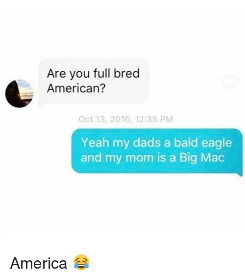 America, Memes, and Yeah: Are you full bred  American?  Oct 13, 2016, 12:35 PM  Yeah my dads a bald eagle  and my mom is a Big Mac America 😂