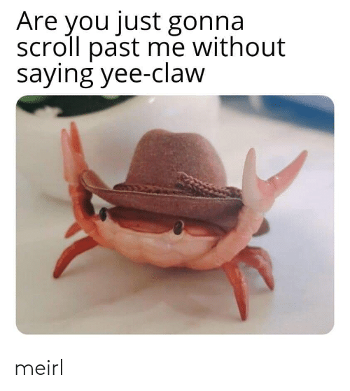 yee: Are you just gonna  scroll past me without  saying yee-claw meirl