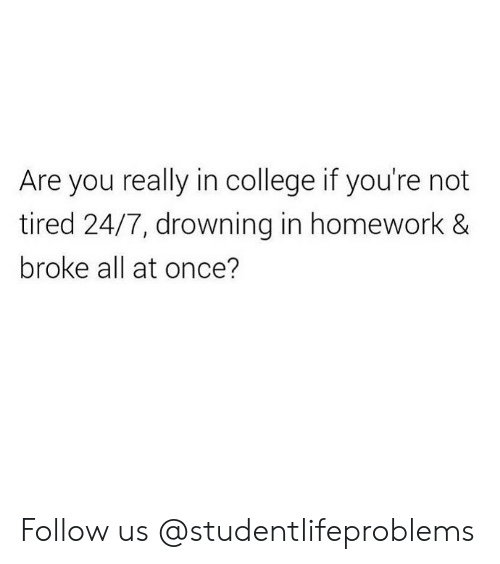 College, Tumblr, and Http: Are you really in college if you're not  tired 24/7, drowning in homework &  broke all at once? Follow us @studentlifeproblems