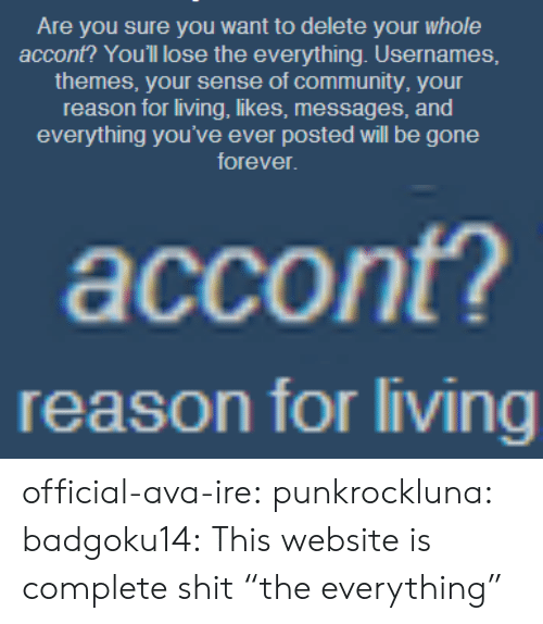 "Community, Shit, and Tumblr: Are you sure you want to delete your whole  accont? You'll lose the everything. Usernames,  themes, your sense of community, your  reason for living, likes, messages, and  everything you've ever posted will be gone  forever   accont?   reason for living official-ava-ire:  punkrockluna:  badgoku14:  This website is complete shit  ""the everything"""