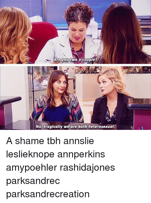Memes, Tbh, and 🤖: Are you two a couple?  No, tragically we are both heterosexual. A shame tbh annslie leslieknope annperkins amypoehler rashidajones parksandrec parksandrecreation