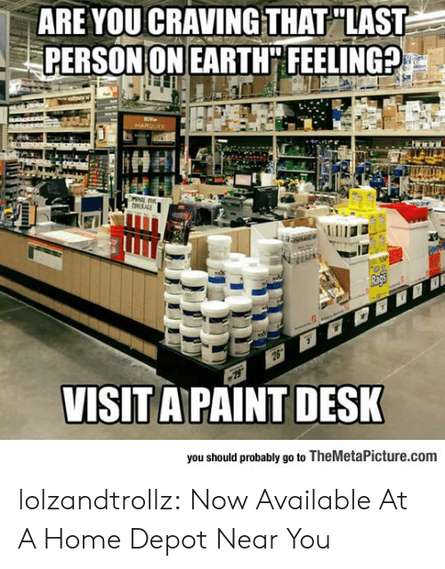 Tumblr, Blog, and Desk: ARE YOUCRAVINGTHAT LAST  PERSON ON EARTH FEELING?  VISIT A PAINT DESK  you should probably go to TheMetaPicture.com lolzandtrollz:  Now Available At A Home Depot Near You