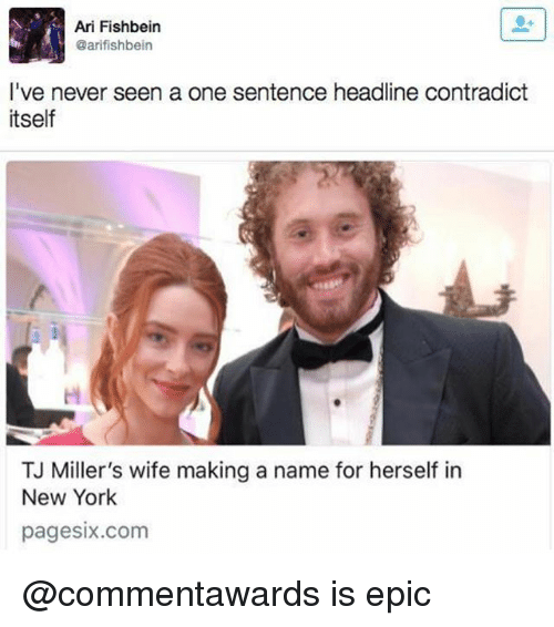 New York, Wife, and Never: Ari Fishbein  @arifishbein  I've never seen a one sentence headline contradict  tself  TJ Miller's wife making a name for herself in  New York  pagesix.com @commentawards is epic