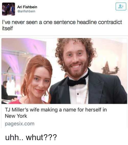 Funny, New York, and Wife: Ari Fishbein  @arifishbein  I've never seen a one sentence headline contradict  itself  TJ Miller's wife making a name for herself in  New York  pagesix.com uhh.. whut???